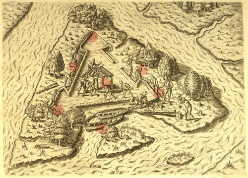 Fort Caroline, as drawn by Jacques Le Moyne, an artist who accompanied the voyage and stayed at fort.
