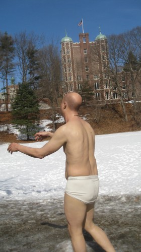 "The ""sleepwalker"" on the Wellesley College campus."