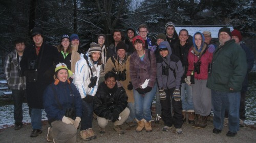 Earlham students gather for a spring bird walk.