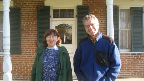 Peggy and Peter in front of the Paul Dresser house.