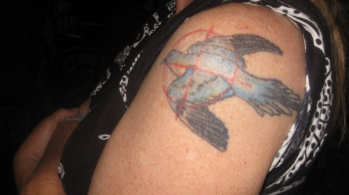 Passenger pigeon tattoo shared by visitor who came all the way from Cincinnati to hear my Lexington talk.
