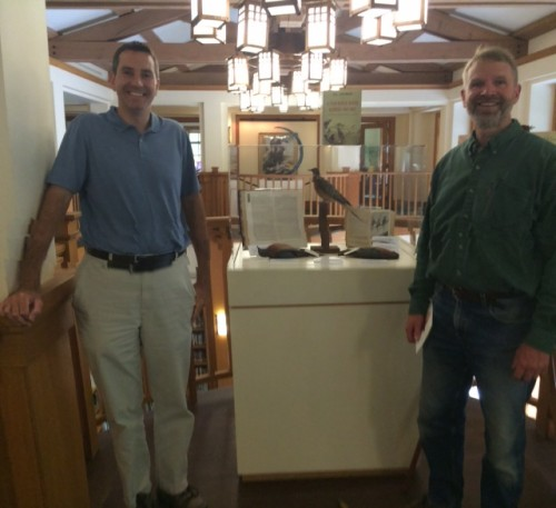 Twan and Mark by one of RTPI's passenger pigeons featured in their display.