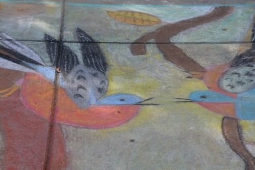 Sidewalk mural in front of School of Natural Resources and Environment.