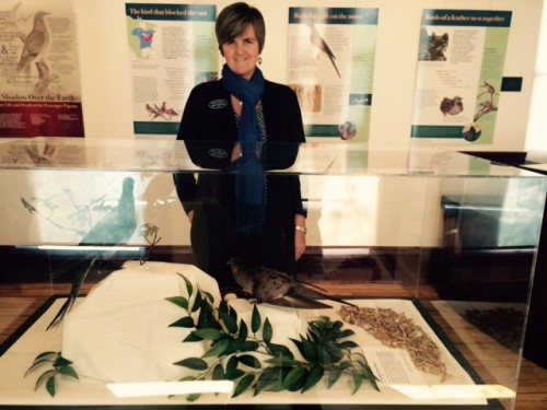 Mary Cummings and the exhibit.