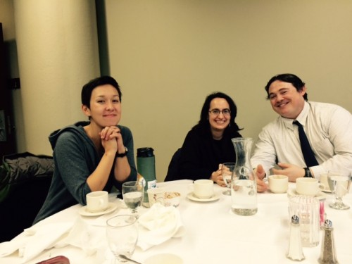 Lizzy, Cheryl, and Brett at buffet dinner sponsored by Wisconsin Academy of Science, Arts, and Letters.