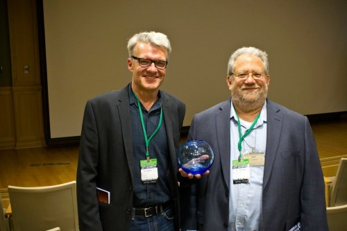 David Mrazek and blogger accepting award from American Conservation Film Festival.